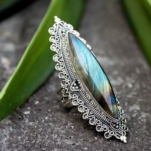 LABRODORITE ring silver bohemian style large